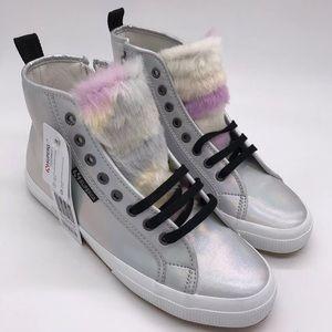 SUPERGA Jocelyn Iridescent Rainbow Fur Sneakers